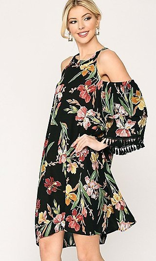 Black Floral Short Casual Cold-Shoulder Dress