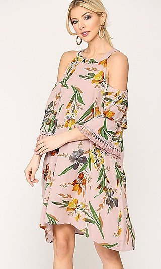 Mauve-Pink Flower-Print Short Wedding-Guest Dress