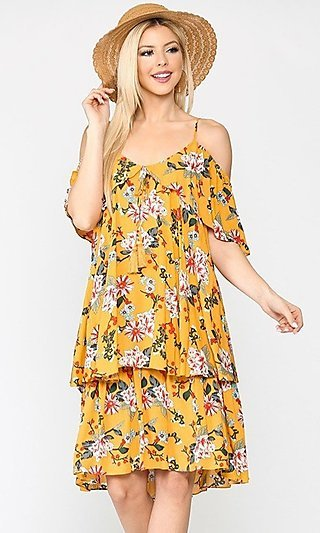 Mango Yellow Flower Print Wedding-Guest Dress