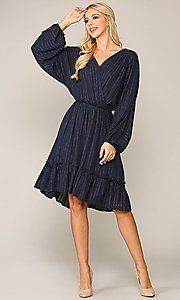 Image of gold-striped navy long sleeve modest casual dress. Style: LAS-GIG-21-TC1485-N Detail Image 1