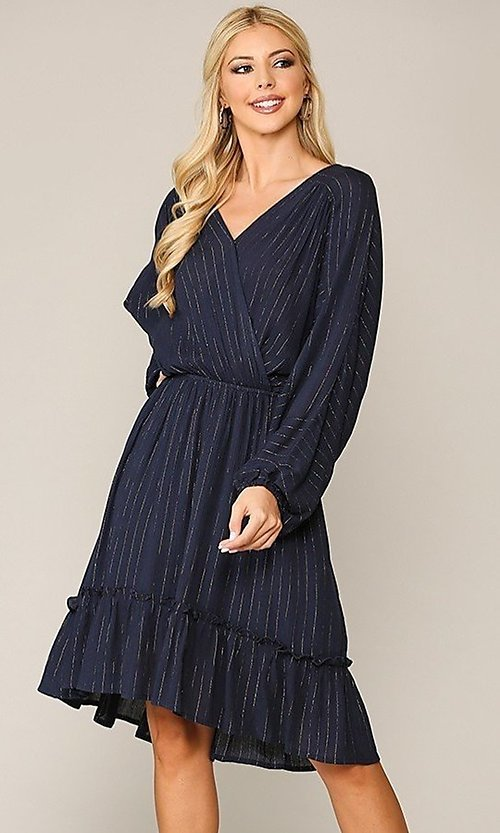 Image of gold-striped navy long sleeve modest casual dress. Style: LAS-GIG-21-TC1485-N Front Image