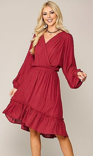 Long Sleeve Wedding-Guest Knee Length Red Dress