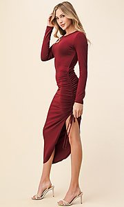 Image of side-ruched long-sleeve asymmetrical party dress. Style: LAS-HAH-21-AD42389L-A Front Image