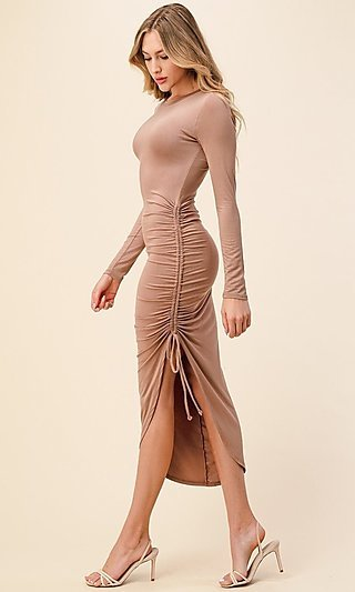 Side-Ruched Long-Sleeve Asymmetrical Party Dress