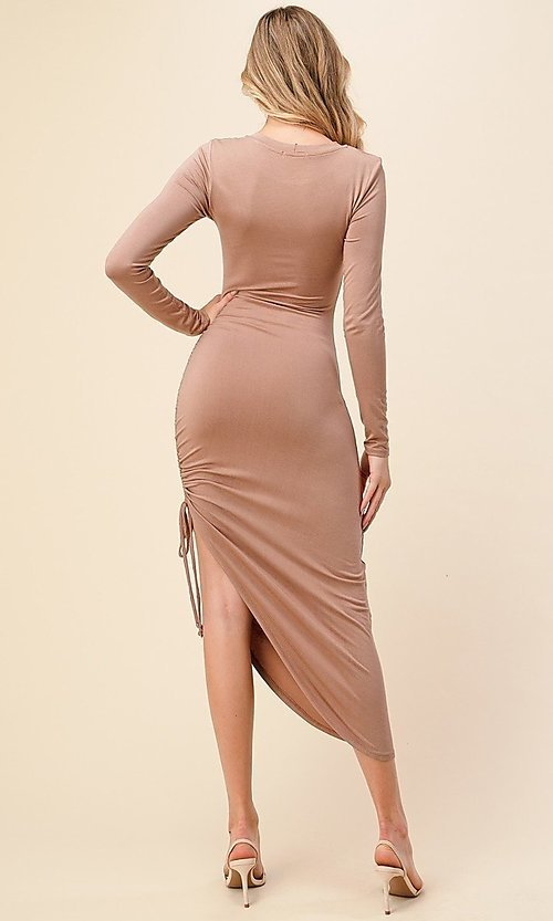 Image of side-ruched long-sleeve asymmetrical party dress. Style: LAS-HAH-21-AD42389L-A Back Image