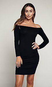 Image of long sleeve off-shoulder day-to-night short dress. Style: LAS-HAH-21-JD31426L Front Image