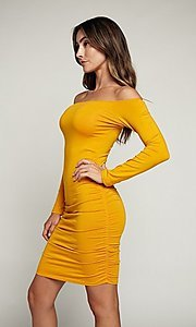 Image of long sleeve off-shoulder day-to-night short dress. Style: LAS-HAH-21-JD31426L Detail Image 1