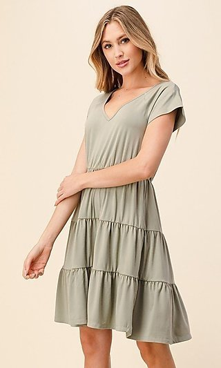 Knee-Length Casual Dress with Ombre' Tiered Skirt