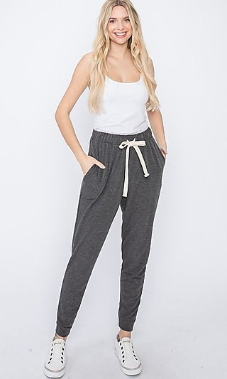 Jogger-Style Lounge Pants with Drawstring