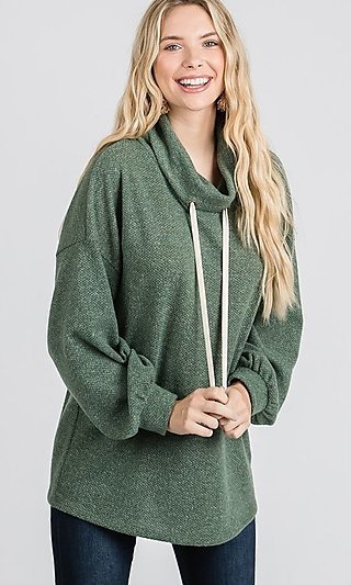 Olive Green Pullover Turtle-Neck Shirt