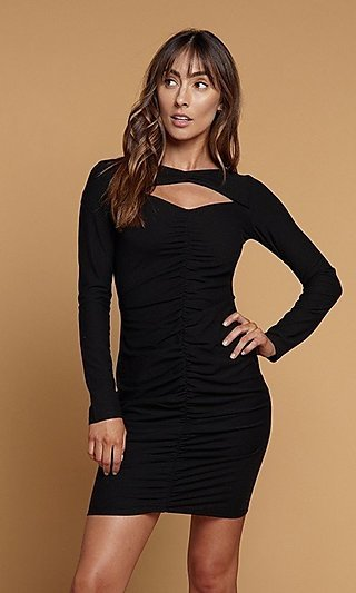 Ruched Long-Sleeve Bodycon Black Dress