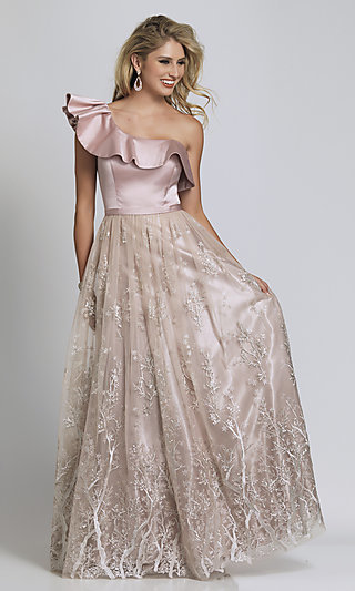 One Ruffle-Shoulder Tree-Print Prom Ball Gown