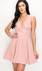 Image of scalloped-lace-bodice short homecoming dress. Style: LAS-PRI-21-PD634-A Front Image
