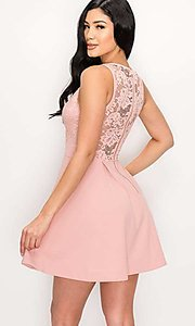Image of scalloped-lace-bodice short homecoming dress. Style: LAS-PRI-21-PD634-A Back Image