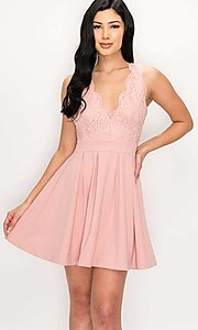Image of scalloped-lace-bodice short homecoming dress. Style: LAS-PRI-21-PD634-A Detail Image 4