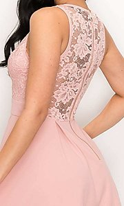 Image of scalloped-lace-bodice short homecoming dress. Style: LAS-PRI-21-PD634-A Detail Image 2