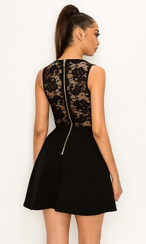 Image of scalloped-lace-bodice short homecoming dress. Style: LAS-PRI-21-PD634-A Detail Image 6