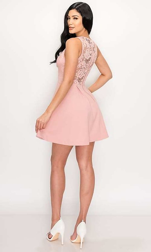 Image of scalloped-lace-bodice short homecoming dress. Style: LAS-PRI-21-PD634-A Detail Image 7