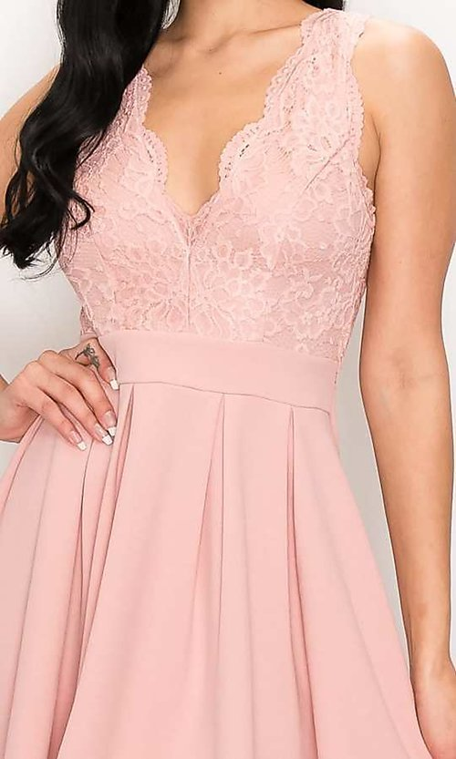 Image of scalloped-lace-bodice short homecoming dress. Style: LAS-PRI-21-PD634-A Detail Image 1