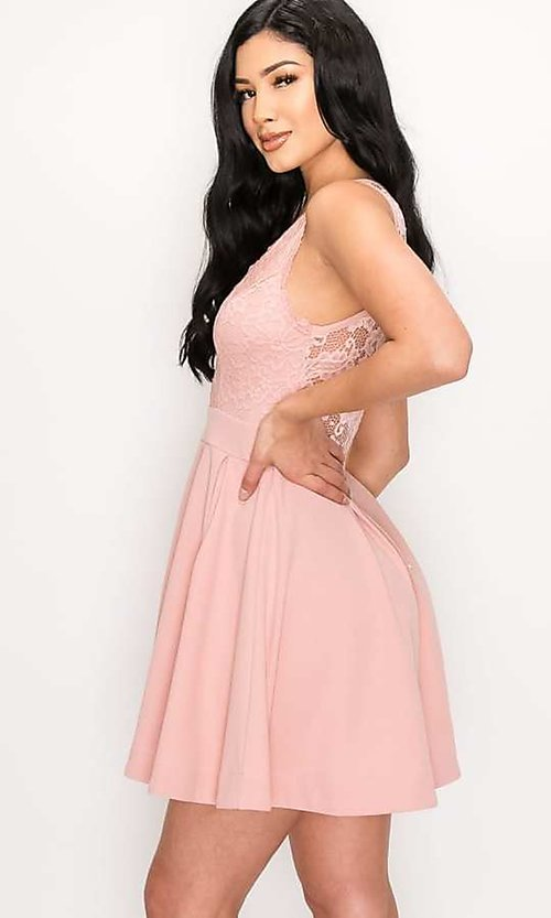 Image of scalloped-lace-bodice short homecoming dress. Style: LAS-PRI-21-PD634-A Detail Image 3