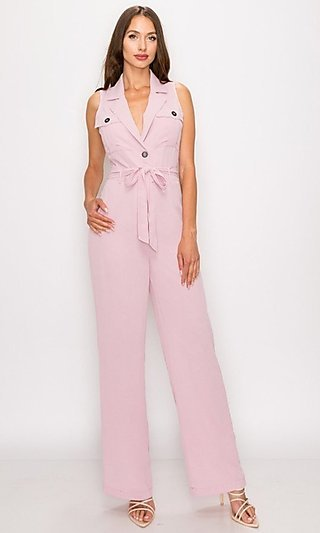 Sleeveless Button-Up Collared V-Neck Pink Jumpsuit