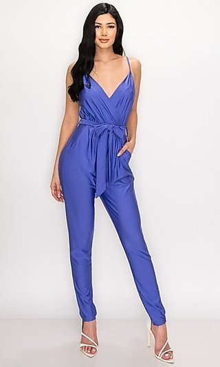 Surplice Belted Semi-Formal Jumpsuit with Pockets