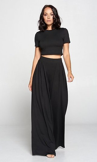 Black Crop Top & Matching Wide-Leg High-Waist Pants