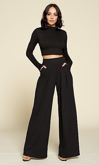 Black Mock-Neck Sleeved Crop Top & Matching Pants