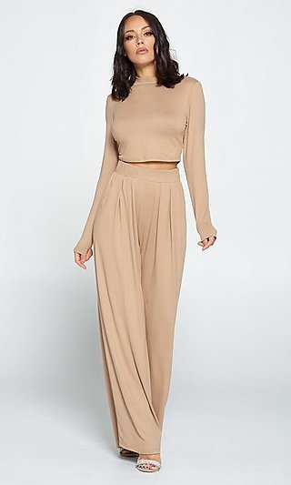 Mock-Neck Long Sleeved Top & Matching Pants Outfit