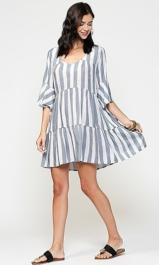 Striped Casual Tiered Shift Dress with Bell Sleeves