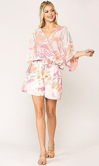 Casual Print Romper with Pockets and Dolman Sleeves