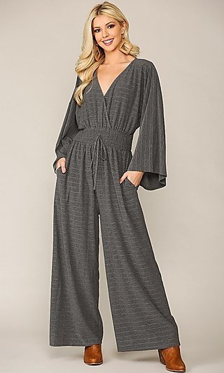 Textured Knit Casual Long Sleeve Jumpsuit