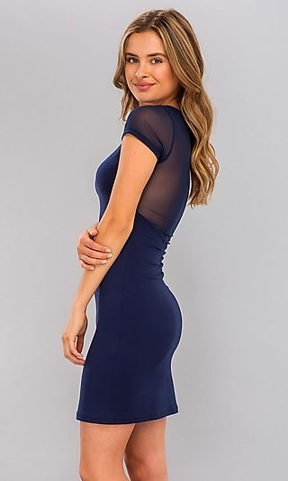 Sheer-Sleeve Navy Blue Short Bodycon Party Dress
