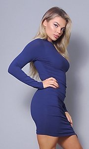 Image of high-neck long sleeve tight short party dress. Style: LAS-CEF-21-D10252 Front Image