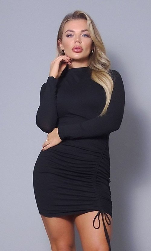 Image of high-neck long sleeve tight short party dress. Style: LAS-CEF-21-D10252 Detail Image 2