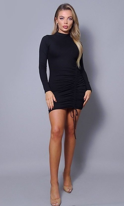 Image of high-neck long sleeve tight short party dress. Style: LAS-CEF-21-D10252 Detail Image 3
