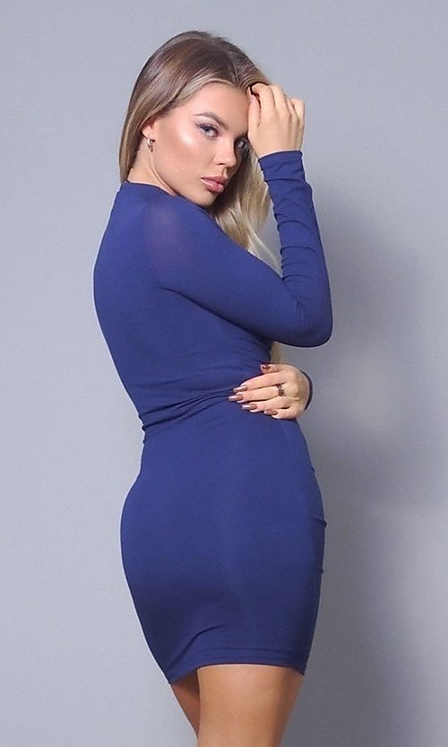 Image of high-neck long sleeve tight short party dress. Style: LAS-CEF-21-D10252 Back Image