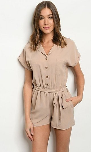 Taupe Cuffed-Short Sleeve Button-Up Romper