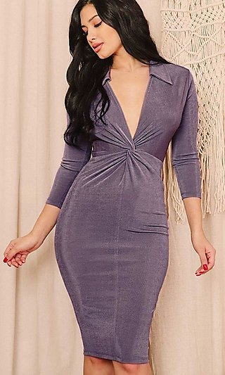 Plunging Low V-Neck Knee-Length Dress with Sleeves