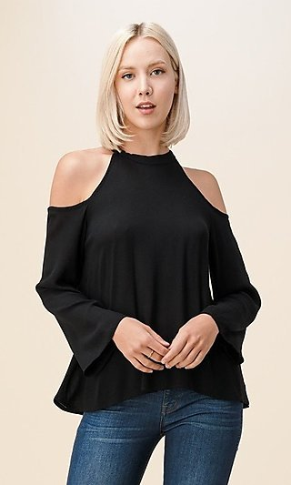 High-Neck Cold-Shoulder Long Sleeve Casual Shirt