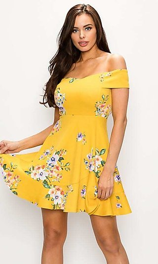 Mustard Yellow Off-the-Shoulder Casual Party Dress