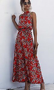 Image of long high-neck print casual maxi party dress. Style: LAS-ESL-21-47376DC Front Image