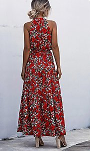 Image of long high-neck print casual maxi party dress. Style: LAS-ESL-21-47376DC Back Image