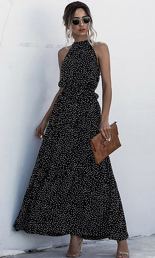 Image of long high-neck print casual maxi party dress. Style: LAS-ESL-21-47376DC Detail Image 1