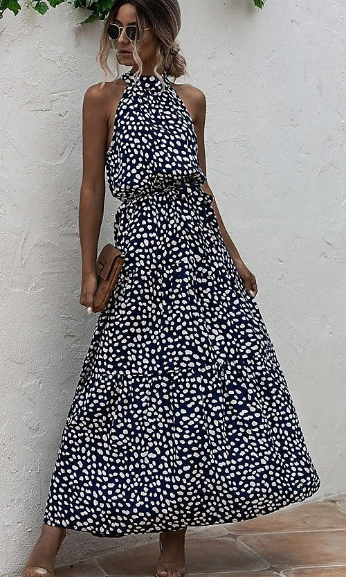 Image of long high-neck print casual maxi party dress. Style: LAS-ESL-21-47376DC Detail Image 2