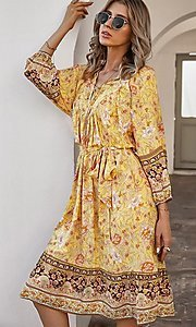 Image of knee-length print modest casual party dress. Style: LAS-ESL-21-49363DDY Back Image
