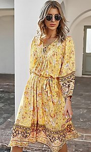 Image of knee-length print modest casual party dress. Style: LAS-ESL-21-49363DDY Detail Image 2