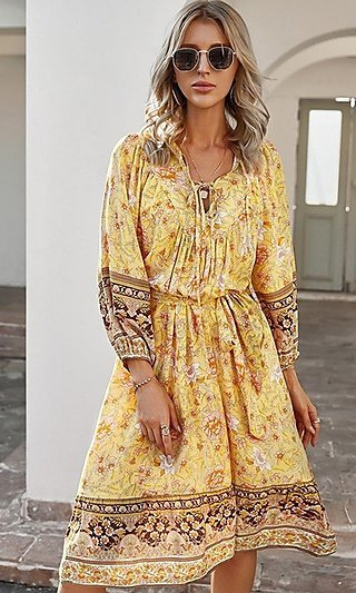 Knee-Length Print Modest Casual Party Dress