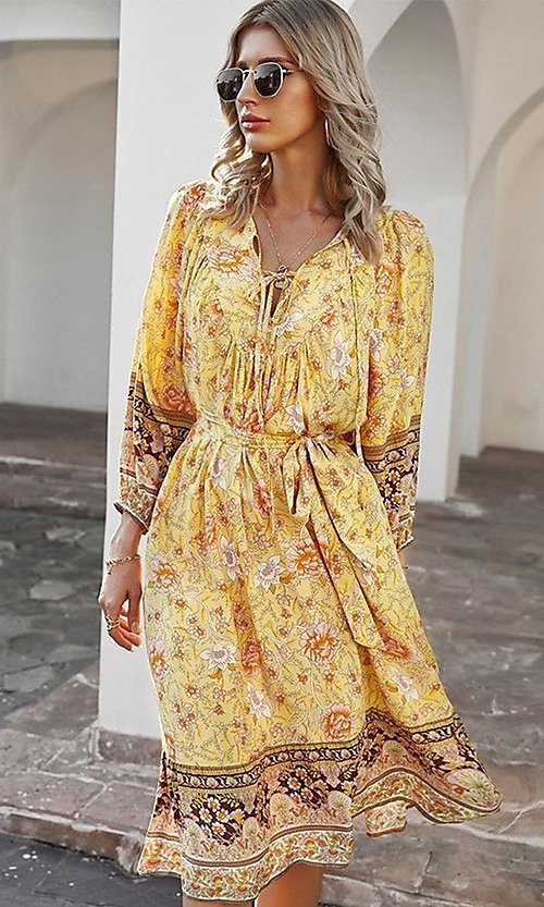 Image of knee-length print modest casual party dress. Style: LAS-ESL-21-49363DDY Detail Image 1