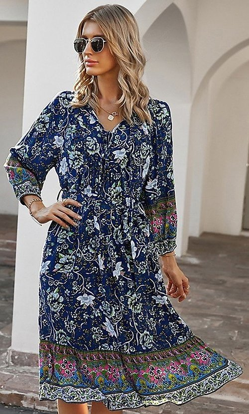 Image of knee-length print modest casual party dress. Style: LAS-ESL-21-49363DDY Detail Image 3